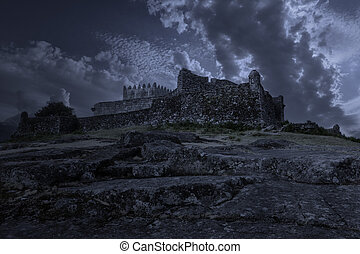 medievale, castello, notte
