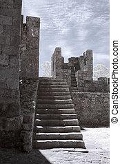 medievale, castello, scale