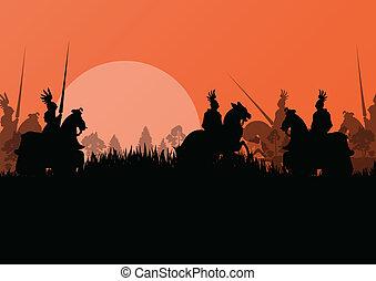 medievale, cavaliere, cavaliere, silhouette, sentiero per cavalcate, in, battaglia, campo, guerra, illustrazione, fondo, vettore
