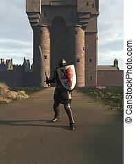 medievale, cavaliere, difendere, castello, cancello