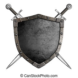 medievale, cavaliere, scudo, e, spade, come, stemma, isolato