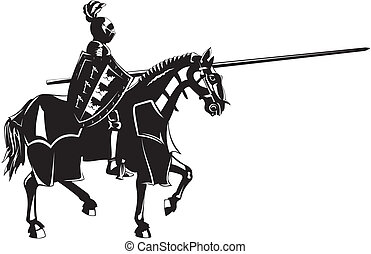 medievale, cavaliere, su, groppa