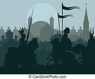 medievale, cavalieri, in, battaglia, vettore, fondo