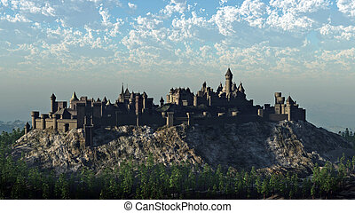 medievale, cima colle, castello