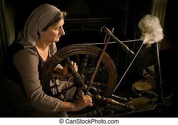 medievale, donna, filarello