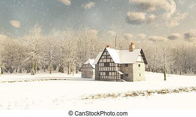 medievale, fattoria, in, inverno, neve