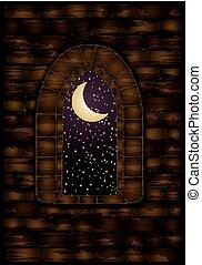 medievale, finestra, in, castle., felice, halloween, fondo, vettore, illustrazione