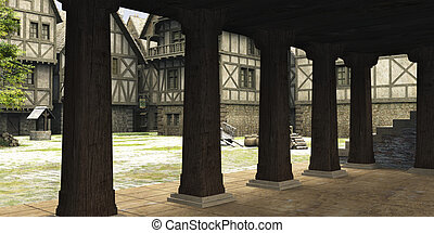 medievale, o, fantasia, markethall, vista