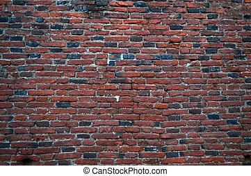 medievale, parete, secondo, elemento, fondo, pioggia, mattone