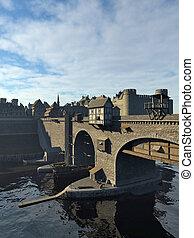 medievale, ponte, e, vecchia città, castello