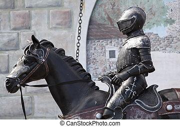 medievale, soldato, su, groppa