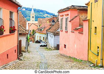 medievale, strada, vista, in, sighisoara, fondato, saxon, colonists, in