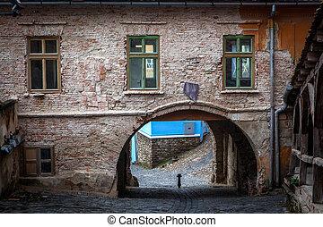 medievale, strada, vista, in, sighisoara, transylvania