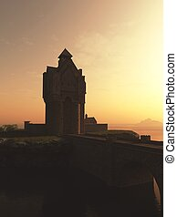 medievale, torre, casa, castello, a, tramonto