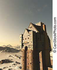 medievale, torre, casa, castello, in, nevoso, montagne
