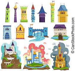 medievale, torreggiare, vettore, castelli, cartone animato, ...