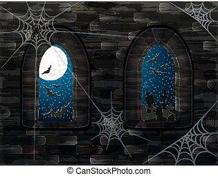 medievale, windows, in, magia, castle., felice, halloween, fondo, vettore, illustrazione