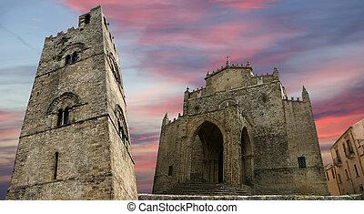 medievel, católico, igreja, (fourteenth, century)., chiesa,...