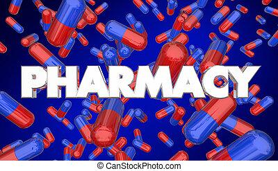 medikation, verordnung, abbildung, apotheke, kapseln, pillen, 3d