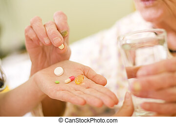 medikationen, für, ein, alte frau