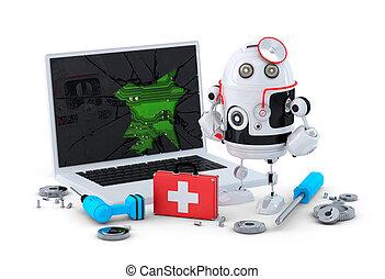medikus, robot., laptop, rendbehozás, concept.