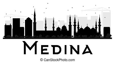 Medina City skyline black and white silhouette. Vector...