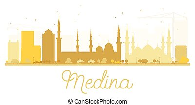 Medina City skyline golden silhouette. Vector illustration....