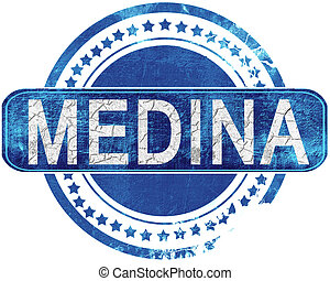 medina grunge blue stamp. Isolated on white. - medina stamp,...