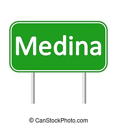 Medina road sign. - Medina road sign isolated on white...
