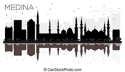 Medina Saudi Arabia City skyline black and white silhouette...