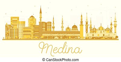 Medina Saudi Arabia City skyline golden silhouette. Vector...