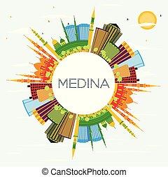 Medina Saudi Arabia City Skyline with Color Buildings, Blue...