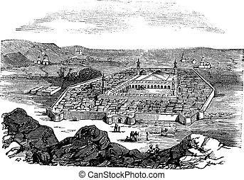 Medina, Saudi Arabia, vintage engraved illustration. Holy city and burial place of Islamic Prophet Muhammad, Trousset encyclopedia (1886 - 1891).