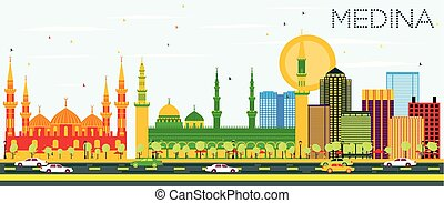 Medina Skyline with Color Buildings and Blue Sky. Vector...