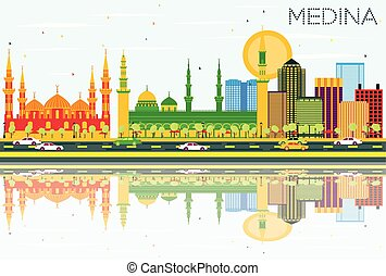 Medina Skyline with Color Buildings, Blue Sky and...