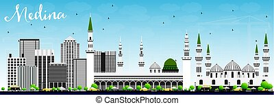 Medina Skyline with Gray Buildings and Blue Sky. Vector...