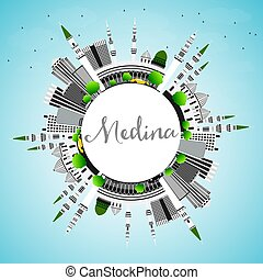 Medina Skyline with Gray Buildings, Blue Sky and Copy Space....