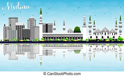 Medina Skyline with Gray Buildings, Blue Sky and...