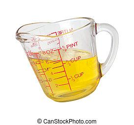 medindo, óleo cozinhando, copo