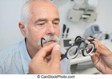 medindo, a, antigas, homens, visão