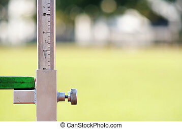 medindo, a, pulo alto, atletismo