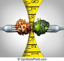 medindo, alimento, fita
