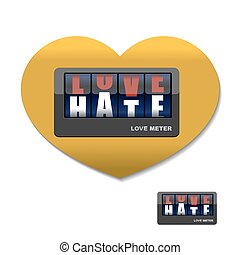 medindo, amor, meter., letters., instrumento, anuncia, dispositivo, ódio, hatred.