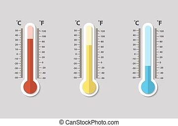 medindo, apartamento, estilo, termômetros, ícones, meteorologia, calor, vetorial, fahrenheit, celsius, normal, gelado
