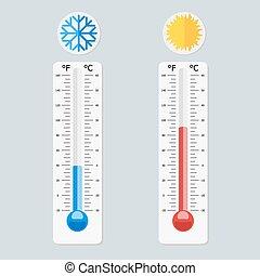 medindo, apartamento, estilo, termômetros, meteorologia, isolado, ilustração, cinzento, fahrenheit, cold., calor, celsius, vetorial, fundo, eps10.