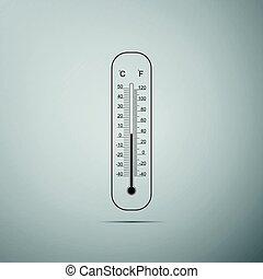 medindo, apartamento, termômetros, equipamento, mostrando, meteorologia, celsius, cinzento, ilustração, ou, fahrenheit, experiência., quentes, vetorial, termômetro, weather., calor, gelado, ícone