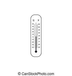 medindo, apartamento, termômetros, isolated., mostrando, meteorologia, celsius, calor, ilustração, ou, fahrenheit, equipamento, quentes, vetorial, termômetro, weather., ícone, gelado, design.