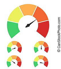 medindo, avaliação, jogo, icons., infographic, medida, medidor, sinais, velocímetro, ou, elementos