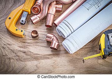medindo, cobre, cano, água, construção, fita, desenhos, fi, cortador