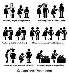 medindo, corporal, altura, peso, tamanho